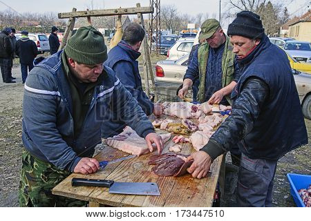 Belo Blato Serbia February 11 2017. The Group butchers the meat processing at the traditional event