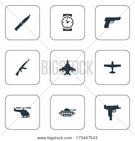 Set Of 9 Simple Army Icons. Can Be Found Such Elements As Kalashnikov, Helicopter, Air Bomber And Other.