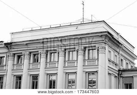 The building in the style of Stalin in Kolpino outskirts of St. Petersburg Russia. Black and white.