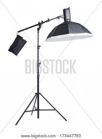 Studio light on stand isolated background