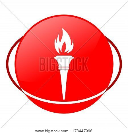 Red icon, torch vector illustration on white background