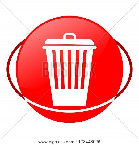 Red icon, trash can vector illustration on white background