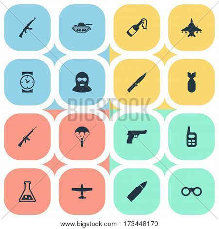 Set Of 16 Simple Terror Icons. Can Be Found Such Elements As Chemistry, Heavy Weapon, Sky Force And Other.