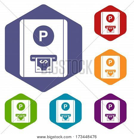 Parking fee icons set rhombus in different colors isolated on white background