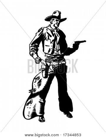 Cowboy Drawing Pistol - Retro Clip Art