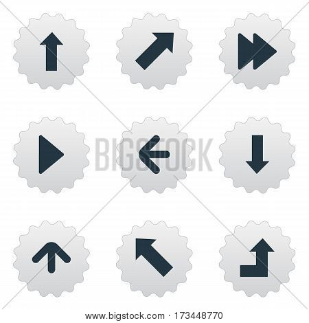 Set Of 9 Simple Indicator Icons. Can Be Found Such Elements As Increasing, Upward Direction, Upward Direction And Other.