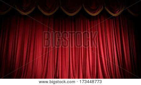 Brightly lit curtains for your background, red curtain