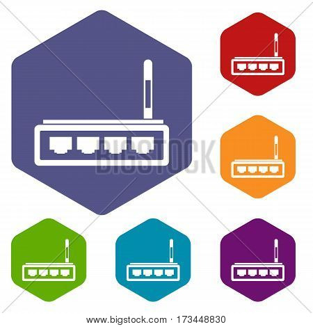 Router icons set rhombus in different colors isolated on white background