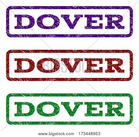 Dover watermark stamp. Text tag inside rounded rectangle frame with grunge design style. Vector variants are indigo blue red green ink colors. Rubber seal stamp with scratched texture.