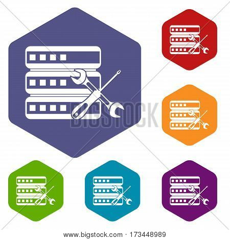 Database with screwdriver and spanner icons set rhombus in different colors isolated on white background