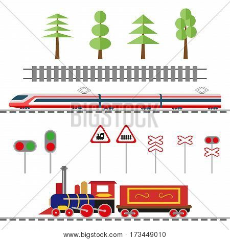 Set of objects for the decoration of the railway illustration. The rails and traffic lights, road signs and trees, high-speed train and a locomotive. Vector, illustration in flat style EPS10