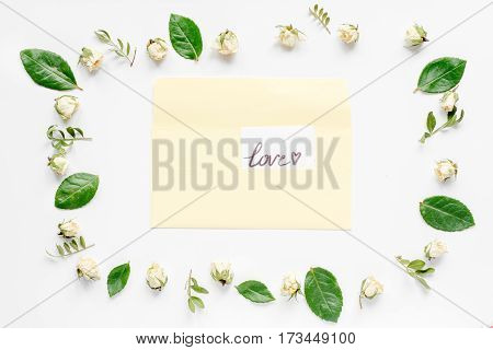 concept calligraphy and floral pattern top view mock up