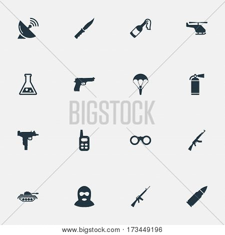 Set Of 16 Simple Terror Icons. Can Be Found Such Elements As Cold Weapon, Walkies, Field Glasses And Other.