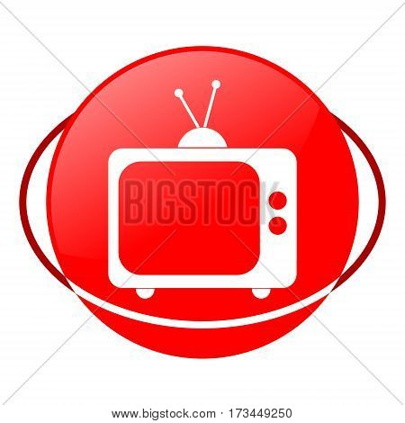 Red icon, television vector illustration on white background