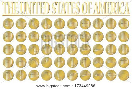 50 gold coins representing the 50 states of the USA isolated on a white background
