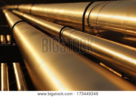 golden steel pipe line conection in crude oil factory
