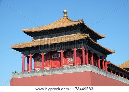 BEIJING - FEBRUARY 23:  Solemn Tower, The Meridian Gate Wumen in the Forbidden City, Beijing, China, February 23, 2016.