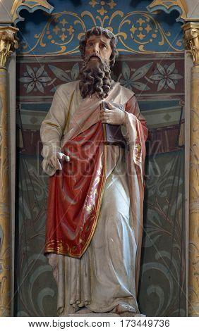 KRATECKO, CROATIA - JULY 16: Saint Paul statue on the altar in Parish Church of Saint Roch in Kratecko, Croatia on July 16, 2010.