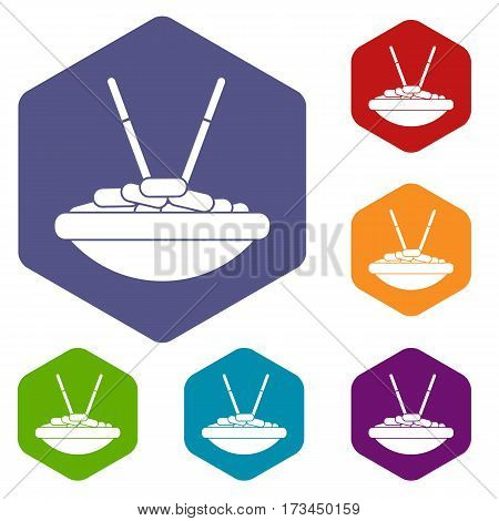 Bowl of rice with chopsticks icons set rhombus in different colors isolated on white background