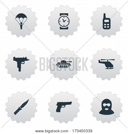 Set Of 9 Simple Terror Icons. Can Be Found Such Elements As Watch, Helicopter, Firearm And Other.