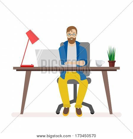 Man behind a desk working on a computer. The working environment of the office staff. Lamp and a laptop, coffee and houseplant on the table. Flat character isolated on white background