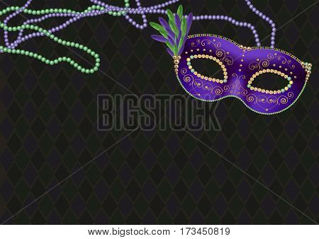 Mardi gras, fat tuesday theme background, with green and purple mask and bead necklaces, copyspace