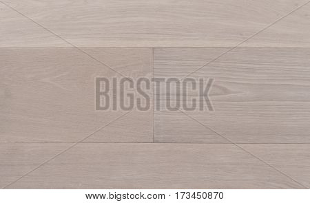Top view photo of rustic white oiled Italian oak wooden floor boards with nice texture