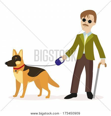 Guide-dog. Blind man with guide dog. Disability blind person concept. Flat character isolated on white background. Vector, illustration EPS10