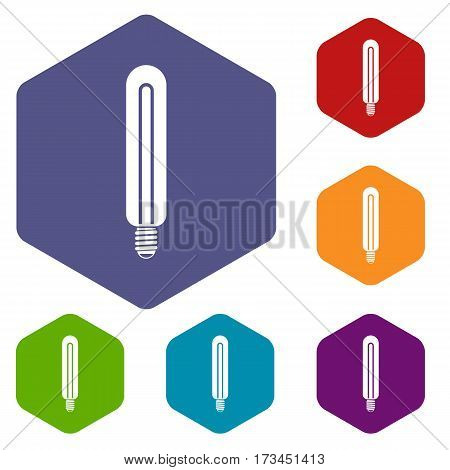 Tubular bulb icons set rhombus in different colors isolated on white background