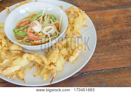 Fried Papaya Salad Recipe (Som Tum Tod)