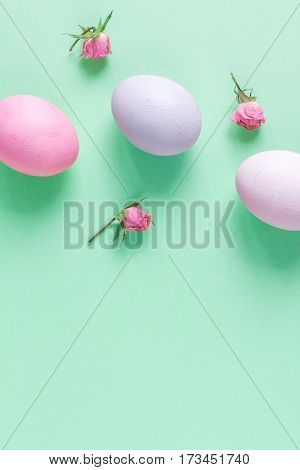 Easter concept on green background top view mockup.