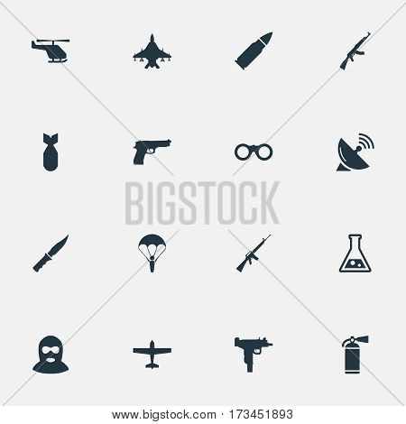 Set Of 16 Simple Military Icons. Can Be Found Such Elements As Kalashnikov, Rifle Gun, Extinguisher And Other.