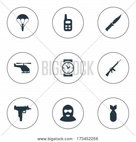 Set Of 9 Simple War Icons. Can Be Found Such Elements As Terrorist, Walkies, Firearm And Other.