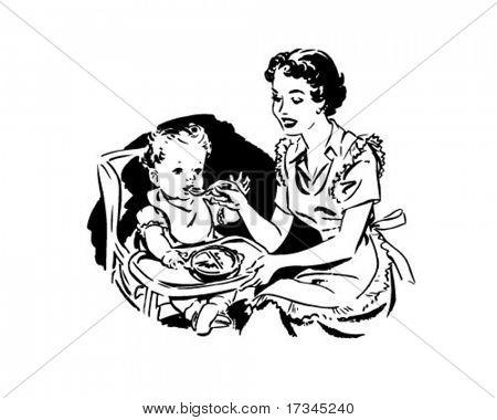 Mother Feeding Baby - Retro Clip Art