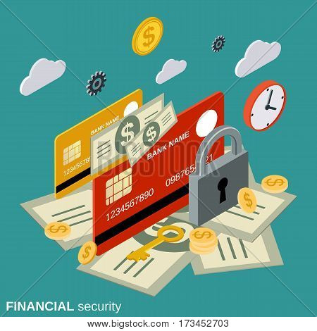 Financial security, money protection flat isometric vector concept