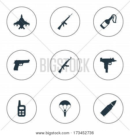 Set Of 9 Simple Military Icons. Can Be Found Such Elements As Molotov, Walkies, Sky Force And Other.