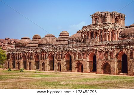 Ancient Elephant stables among the ruins of Hampi India