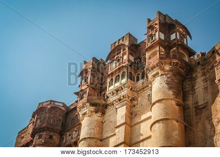 Impressive Fort above blue city Jodhpur in India