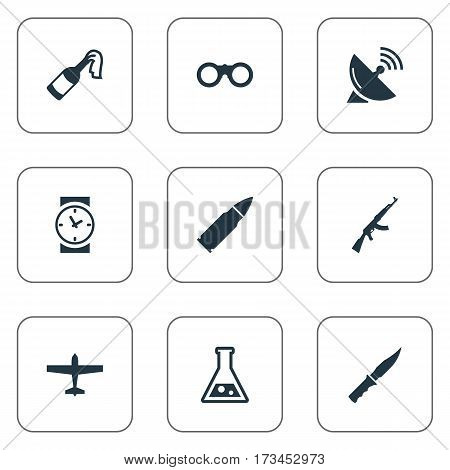 Set Of 9 Simple Battle Icons. Can Be Found Such Elements As Kalashnikov, Cold Weapon, Air Bomber And Other.