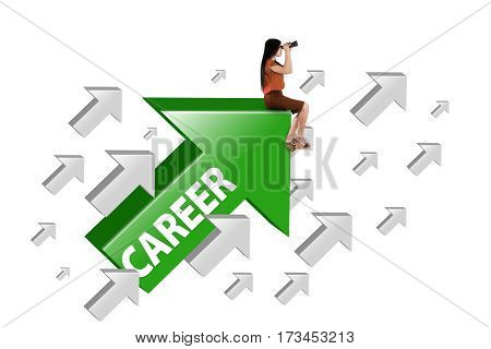 Young businesswoman sitting on the green rising arrow with career word and looking through binocular