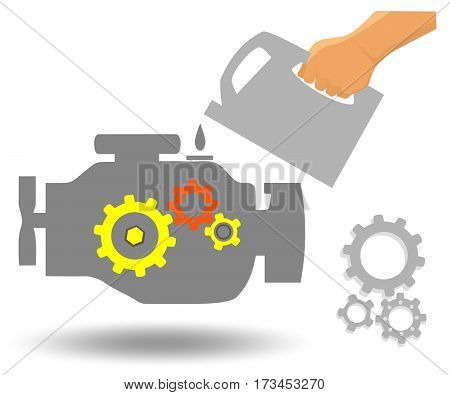 Car engine maintenance. Oil changing in car repair station. Engine flat vector illustration.