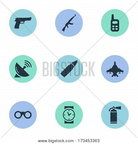 Set Of 9 Simple Army Icons. Can Be Found Such Elements As Ammunition, Sky Force, Field Glasses And Other.