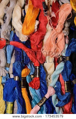 Photo Of Set Embroidery Threads (floss). Selective Focus. Image Can Be Used As Background. Colorful