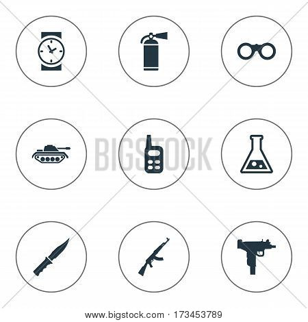 Set Of 9 Simple Terror Icons. Can Be Found Such Elements As Cold Weapon, Kalashnikov, Firearm And Other.