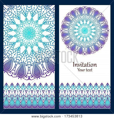 Card, invitation, menu or leaflet eastern circular pattern mandala blue, lilac color on a white background in the Indian, Islamic, Turkish style.