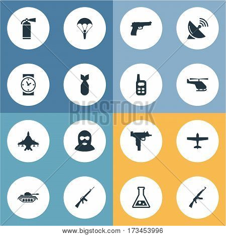 Set Of 16 Simple Terror Icons. Can Be Found Such Elements As Walkies, Signal Receiver, Extinguisher And Other.