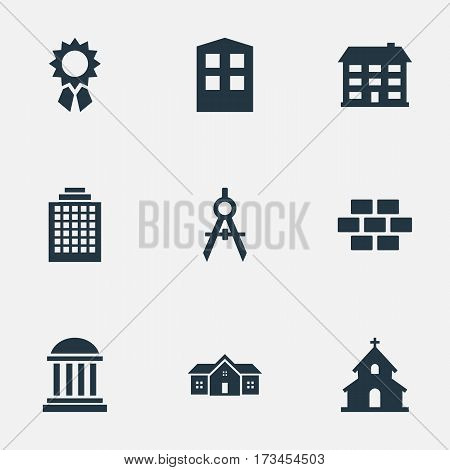 Set Of 9 Simple Structure Icons. Can Be Found Such Elements As Residence, School, Reward And Other.