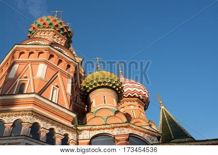 St. Basil's Cathedral on Red square in spring day. Moscow, Russia.