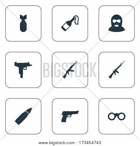 Set Of 9 Simple Army Icons. Can Be Found Such Elements As Firearm, Field Glasses, Nuke And Other.