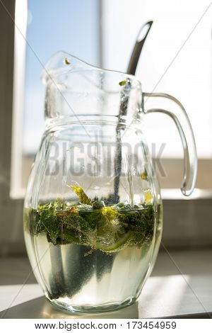 Carbonated soda water or juice with lime and mint in a glass jug on the window background.